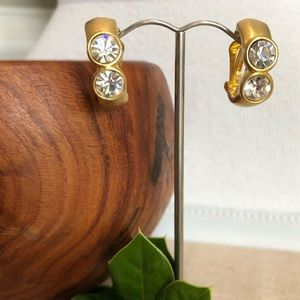 Vintage Gold and Clear Rhinestone Clip Earrings